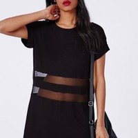 Missguided - Mesh Waist T-Shirt Dress Black