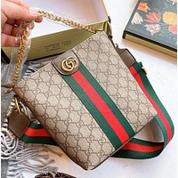 GUCCI  Fashion New stripe more letter leather shopping leisure chain shoulder bag women crossbody bag bucket bag