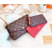 Bunchsun Louis Vuitton LV Women Fashion Shopping Leather Handbag Tote Satchel Shoulder Bag Three-Piece