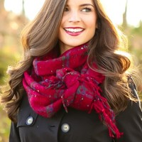 Tied With A Bow Scarf-Cranberry