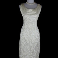 1950s 1960s White Sequin Vintage Christmas Wiggle Cocktail Party Dress W31