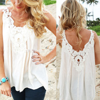 Women V Back Floral Cutwork Vest Top Sleeveless Blouse Casual Tank Tops T-Shirt = 6091532035