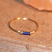 Wire Thin Rings Handmade - Blue Thin Ring - Knuckle Ring - Stacker Wire Ring, Thin Rings, Midi Ring