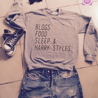 Blogs food sleep and harry styles sweatshirt jumper gift cool fashion girls UNISEX sizing women sweater funny cute teens dope teenagers