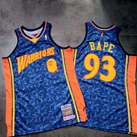 A BATHING APE® x MITCHELL & NESS x NBA Golden State Warriors Classic Bape #93 Blue Basketball Jerseys
