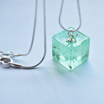 Dandelion Necklace Tiny Green Cube Make a Wish Ice Mint Aqua Fluffy Seeds Real Flower Small Cute Summer Resin Pendant