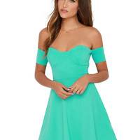Green Paddedd Off-Shoulder Skater Dress