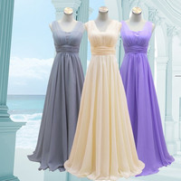 2015 Hot Chiffon Dresses Evening Formal Party Ball Gown Prom Bridesmaid Dress Long and Short Design (S,M,L, 5 Colors) = 1946025988