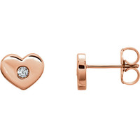 Dainty Diamond Earrings | Classic Heart Studs | Romantic Gifts for Girlfriends | Solid 14k Rose Gold | Valentines Day Jewelry for Her