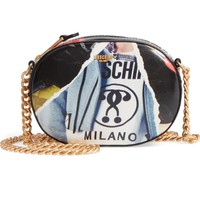 Moschino Editorial Print Coated Canvas Shoulder Bag | Nordstrom