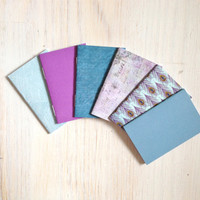Notebooks: 6 Tiny Journal Set, Blue, Purple, Wedding, Favors, Small Notebooks, For Her, For Him, Gift, Unique, Mini Journals, Party, T015