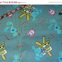 TPR Blues Clues flannel quilt fabric Artist easel paint clock cotton quilting sewing material by the yard