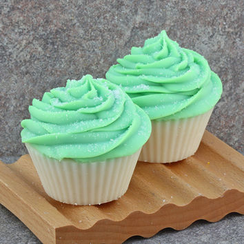 Handmade Cupcake Soap in Lime Coconut - Cold Process Bakery Soap