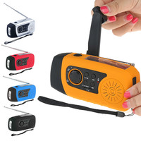Emergency Solar Hand Crank FM Radio, MP3 Player, Flashlight, Smart Cell Phone Charger with USB Cable
