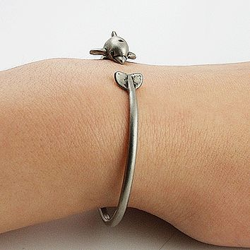 Animal Wrap Adjustable Bracelet White Bronze Dolphin