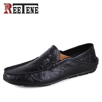 Fashion Casual Driving Shoes Genuine Leather Loafers Men Shoes 2016 New Men Loafers Luxury Brand Flats Shoes Men Chaussure
