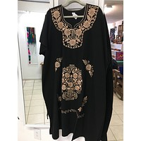 Mexican Traditional Embroidered Kimono Dress Plus Size