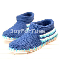 Crochet Shoes Spring Blue Sea for the street  Outdoor Shoes Boots Made to Order