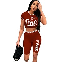 Victoria Pink Women Fashion New Letter Print Sports Leisure Top And Shorts Two Piece Suit Burgundy