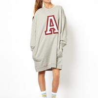 ASOS Massive Sweat Dress With 'A' Applique - Gray