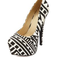 Tribal Print Pointy Toe Platform Pumps - Black/White