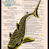 Gold Black Whale Shark Art Beautifully Upcycled Vintage Dictionary Page Book Art Print, Sea Life Print