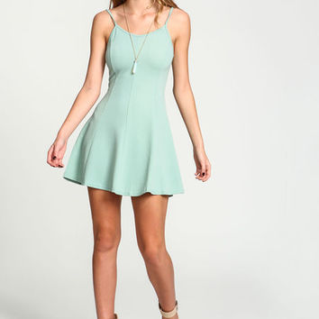 MINT CREPE FIT AND FLARE DRESS