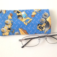 Trucks and Caterpillers Soft Eye Glasses Case- Hand Made