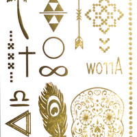 Hawaii Paradise Metallic Temporary Tattoo Gold Silver Festival Beach Holiday Gift Present Birthday Gift Flash Tattoo Gift For Her Cheap