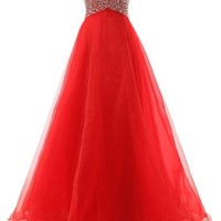 Mic Dresses Women's Sweetheart Organza Bridesmaid Prom Dresses Beaded Evening Gowns