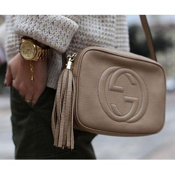Gucci Fashion Ladies Small Bag Shopping Pure Color Tassel Leather Shoulder Bag Crossbody Satchel White