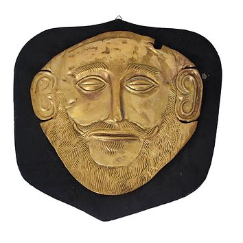 c1900 Gold Plated Mycenaean Death Mask of Agamemnon Ancient Greek Reproduction