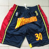 Just Don Golden State Warriors Stephen Curry NBA Championship Basketball Swingman Shorts - Best Deal Online