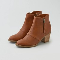 AEO Double Zip Stacked Heel Bootie , Cognac   American Eagle Outfitters