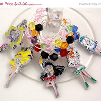Sailor Moon inspired geeky wine glass charms set of 5 video game charms handmade wine charms party wine charms