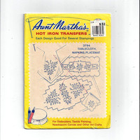 Aunt Martha's 3794 Hot Iron Transfers for Tablecloth, Napkins, Place Mat Cross Stitch, Embroidery, Textile Painting, Arts, Craft, UNUSED