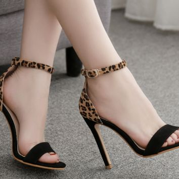 New sexy leopard print monochrome stiletto sandals