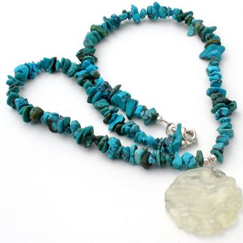 Turquoise Bead 925 Necklace with Jade Bird