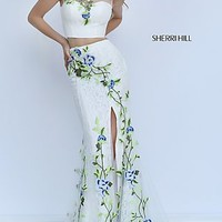 Illusion Sweetheart Embroidered Long Prom Dress by Sherri Hill