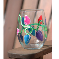 Christmas Lights Stemless Wine Glass / Hand Painted Wine Glass