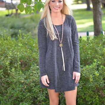First Impressions Charcoal Sweater Dress