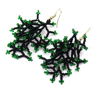 Long  Earrings. Black Green Earrings. Dangle Long Earrings. Beadwork. Beaded  Handmade Jewelry.