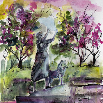 The Waving Girl Of Savannah Original Watercolor & Ink 24 by 18 inch by Ginette