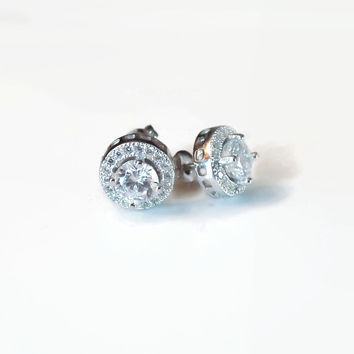 7mm Platinum Plated Halo Earrings - CLEARANCE