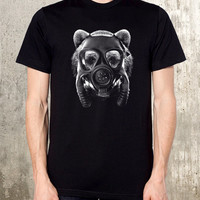 Grizzly Bear in Gas Mask - Men's Screen Printed T-Shirt - Available in S, M, L, XL and XXL