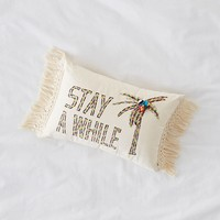 Stay Awhile Embroidered Lumbar Pillow | Urban Outfitters