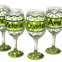 12 Wedding Wine Glasses, Polka Dot Hand Painted Bridal Party Wine Glasses, Bridal Party Gifts, Bridesmaid Wine Glass Gifts, Wedding