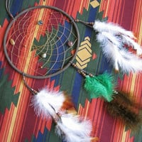 large authentic Native Dreamcatcher 9 inch diameter Dark Brown Suede with green, brown, and White Brown-tipped Feathers and stones