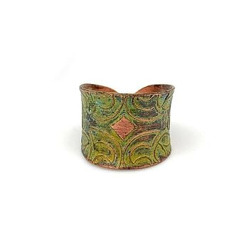 Anju Copper Patina Ring in Light Green Floral