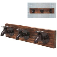 Country Rustic Old Fashion Faucet Wall Mounted Iron & Wood 3 Coat Hooks Garment, Towels, Hat Hanger Rack
